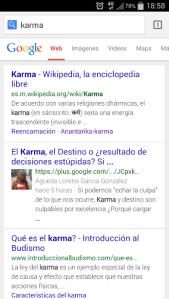 karma en google