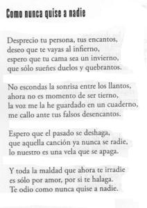 poema te odio como nunca quise a nadie